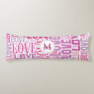Pink Tone Inscriptions Love Pattern with Monogram Body Pillow
