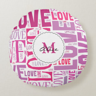 Pink Tone Inscriptions Love Pattern with Monogram Round Pillow