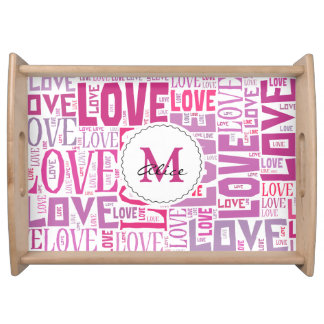 Pink Tone Inscriptions Love Pattern with Monogram Food Trays