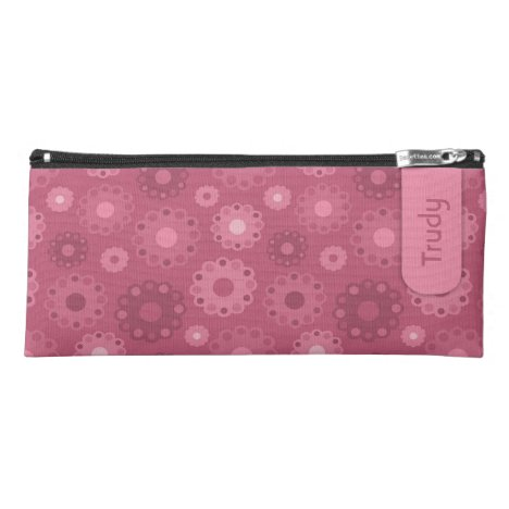 Pink toned floral or doilies pattern pencil case