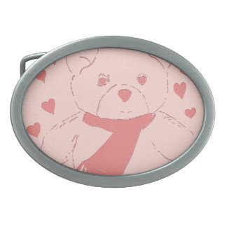 Pink Toned Teddy Bear Belt Buckle