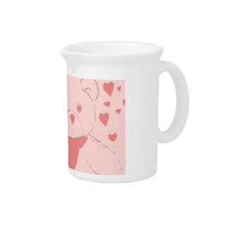 Pink Toned Teddy Bear Beverage Pitcher