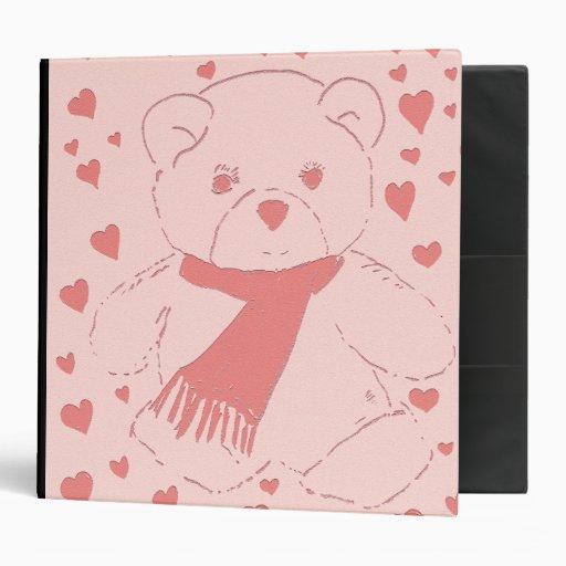pink toned teddy bear binder