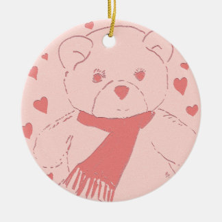 pink toned teddy bear ceramic ornament