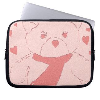 Pink Toned Teddy Bear Computer Sleeves