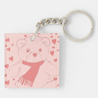 Pink Toned Teddy Bear Double-Sided Square Acrylic Keychain