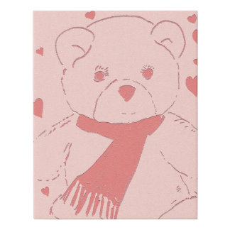 Pink Toned Teddy Bear Faux Canvas Print