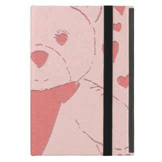 pink toned teddy bear iPad mini cover