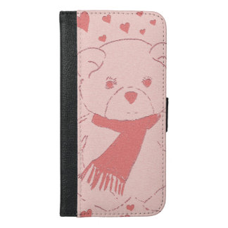 pink toned teddy bear iPhone 6/6s plus wallet case