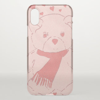 Pink Toned Teddy Bear iPhone X Case