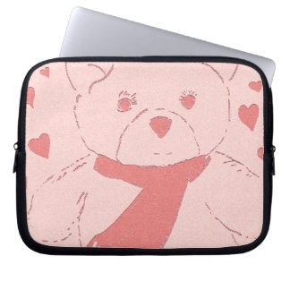 Pink Toned Teddy Bear Laptop Sleeve