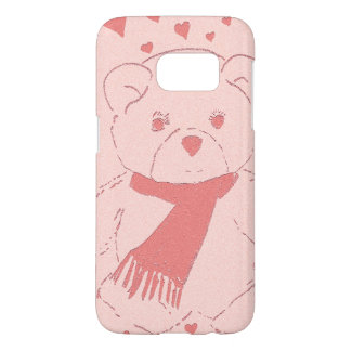 pink toned teddy bear samsung galaxy s7 case