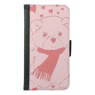 pink toned teddy bear wallet phone case for samsung galaxy s6