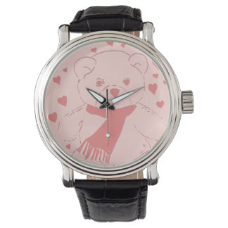 Pink Toned Teddy Bear With Hearts Watches