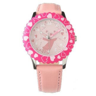 Pink Toned Teddy Bear With Hearts Wristwatches