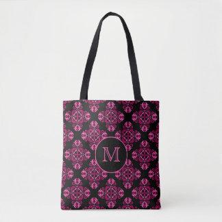 Pink tones damask on black tote bag
