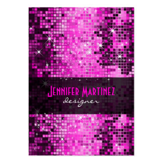 Pink Tones Retro Disco Faux Glitter Large Business Card