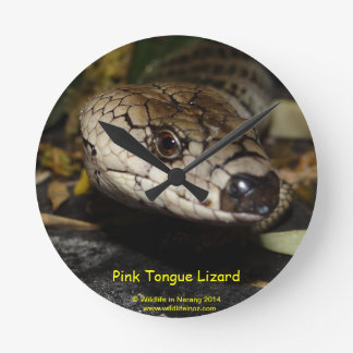 Pink Tongue Lizard Round Clock