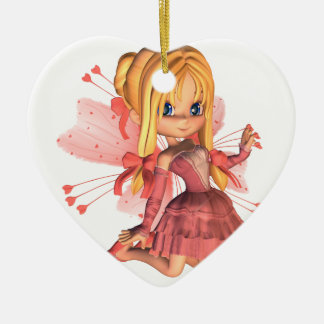 Pink Toon Valentine Fairy - 2 Double-Sided Heart Ceramic Christmas Ornament