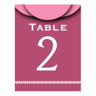 PINK Top Accent with Lace V17A Table Number Postcard