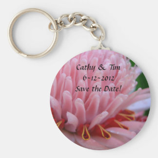 Pink Torch Ginger Wedding Save the Date Keychains