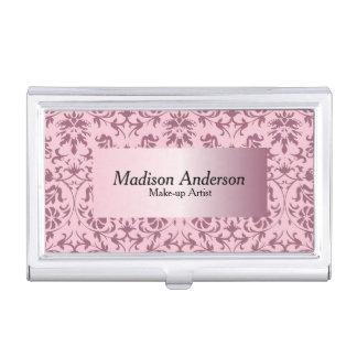 Pink Tourmaline Damask Print | Personalize Business Card Holder