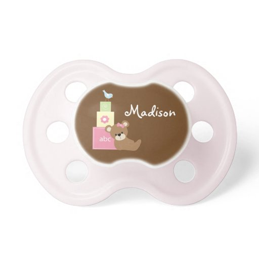 Pink Toy Bear and Alphabet Blocks Pacifier