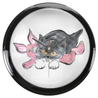 Pink Toy Bunny: kitten and toy Easter bunny Fish Tank Clocks