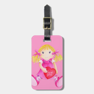 Pink toy rag doll kids named luggage tag
