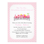 Pink Toy Train Baby Shower Personalized Announcement
