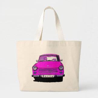 Pink Trabant Car Large Tote Bag