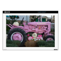 "Pink Tractor 17"" Laptop Decal"
