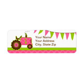 Pink Tractor 1st Birthday Label