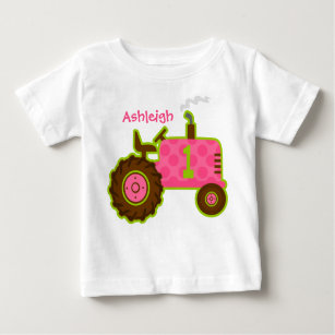 05af8b10 Pink Tractor 1st Birthday Personalized Baby T-Shirt