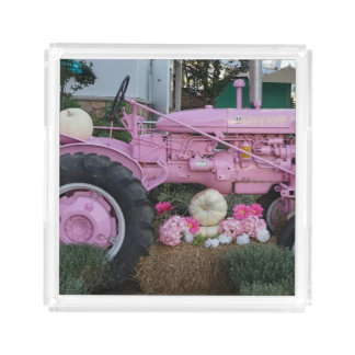 Pink Tractor Acrylic Tray