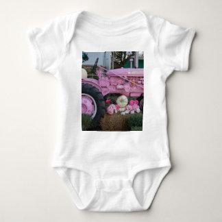 Pink Tractor Baby Bodysuit