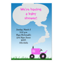 Pink Tractor Baby Shower Invitation