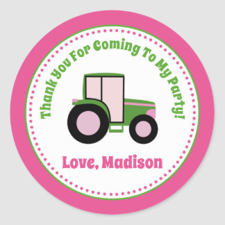 Pink Tractor Birthday Party Favor Stickers