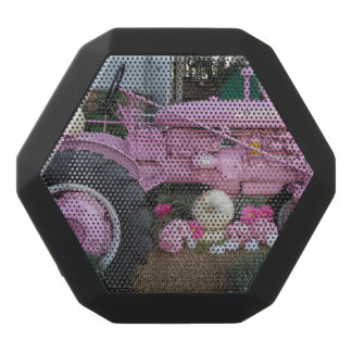 Pink Tractor Black Bluetooth Speaker