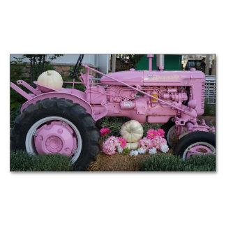 Pink Tractor Business Card Magnet