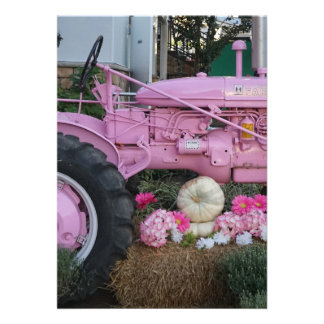 Pink Tractor Card