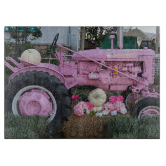 Pink Tractor Cutting Board