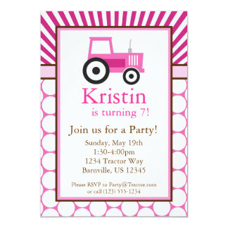 Pink Tractor Farm Birthday Party Invite