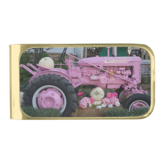 Pink Tractor Gold Finish Money Clip