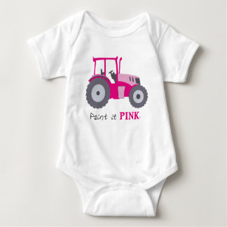 Pink tractor illustration for infants baby bodysuit