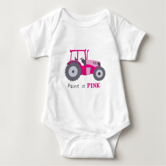 Pink tractor illustration paint it pink! baby bodysuit