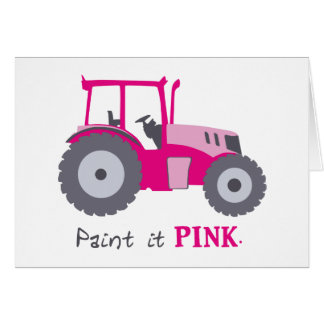 Pink tractor illustration paint it pink! card