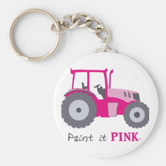 Pink tractor illustration paint it pink! keychains