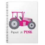 Pink tractor illustration paint it pink! spiral notebook