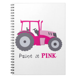 Pink tractor illustration paint it pink! notebook